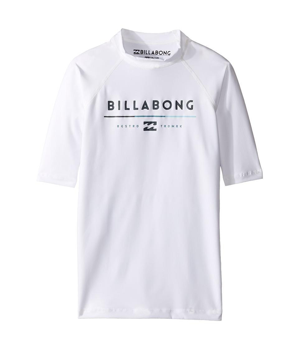 Billabong Kids All Day Short Sleeve Rashguard (Toddler/Little Kids/Big Kids) (White) Boy