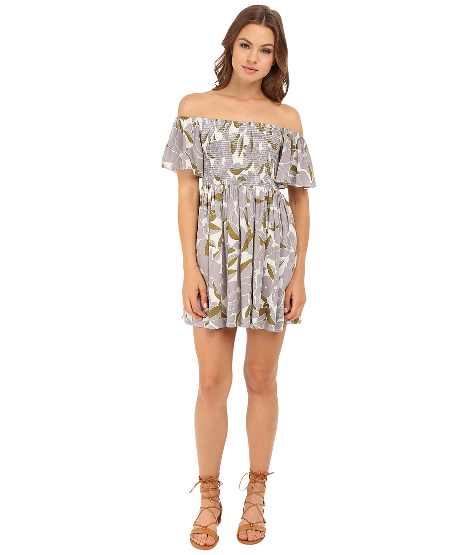 Free People Louise Printed Smocked Dress Neutral Combo Womens Dress