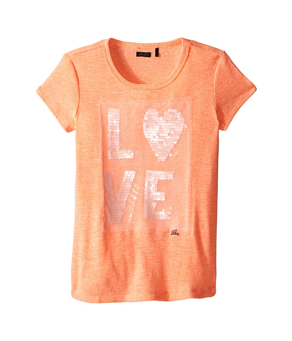 IKKS Heathered Cotton T Shirt with Sequined Love on Front Little Kids/Big Kids Coral Girls T Shirt