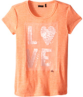 IKKS - Heathered Cotton T-Shirt with Sequined Love on Front (Little Kids/Big Kids)