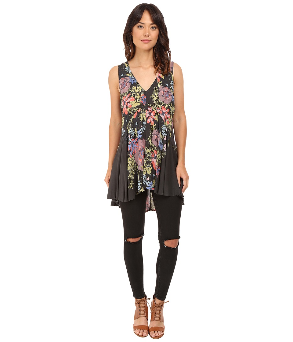 Free People Backyard Printed Top Black Womens Clothing