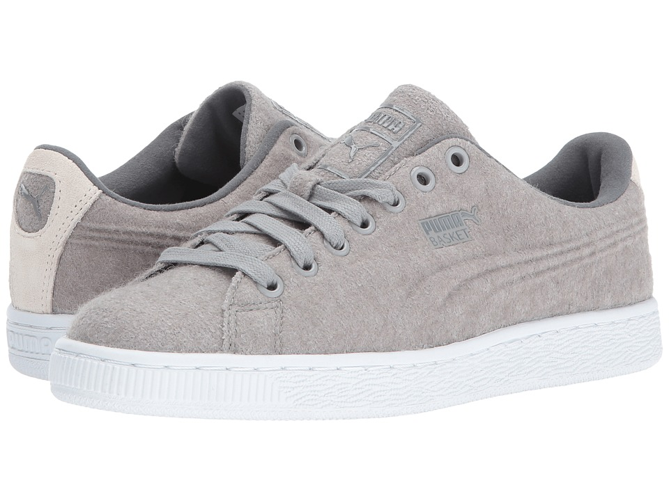 PUMA - Basket Classic Embossed Wool (Drizzle/Steel Gray) Mens Shoes