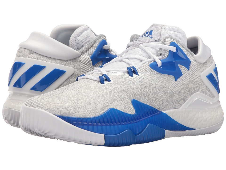 adidas - Crazylight Boost Low (White/Blue/Clear Onix) Mens Basketball Shoes