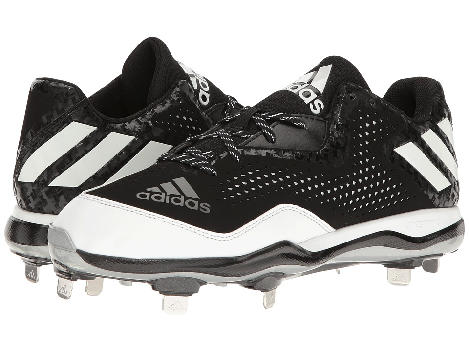 adidas - PowerAlley 4 (Black/White/Silver Metallic) Mens Cleated Shoes