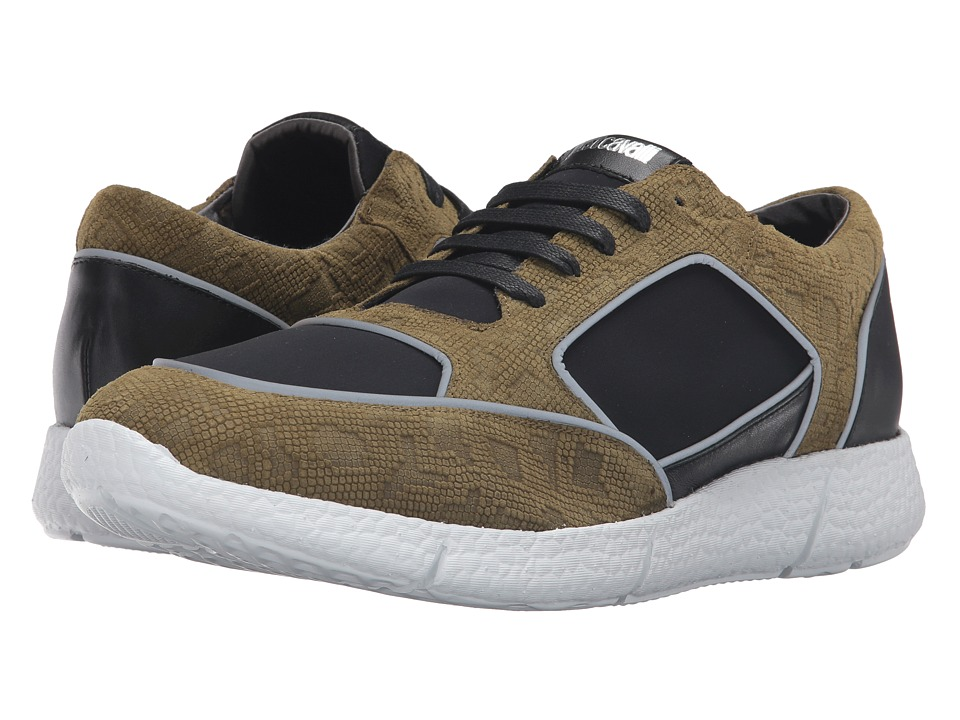 Just Cavalli - Small Python Printed Nubuck and Neoprene Sneakers (Military Olive) Men