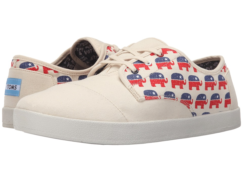 TOMS Paseo Republican Elephants Natural Mens Lace up casual Shoes