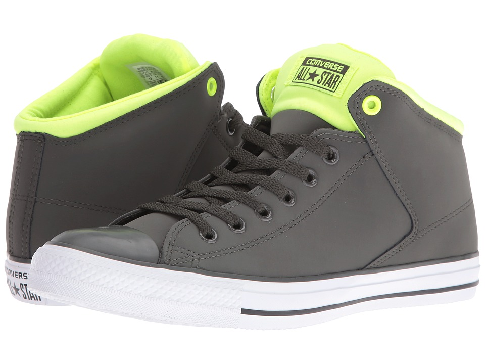 Converse Chuck Taylor All Star Leather Neoprene Street Hi (Cast Iron/White/Volt) Athletic Shoes