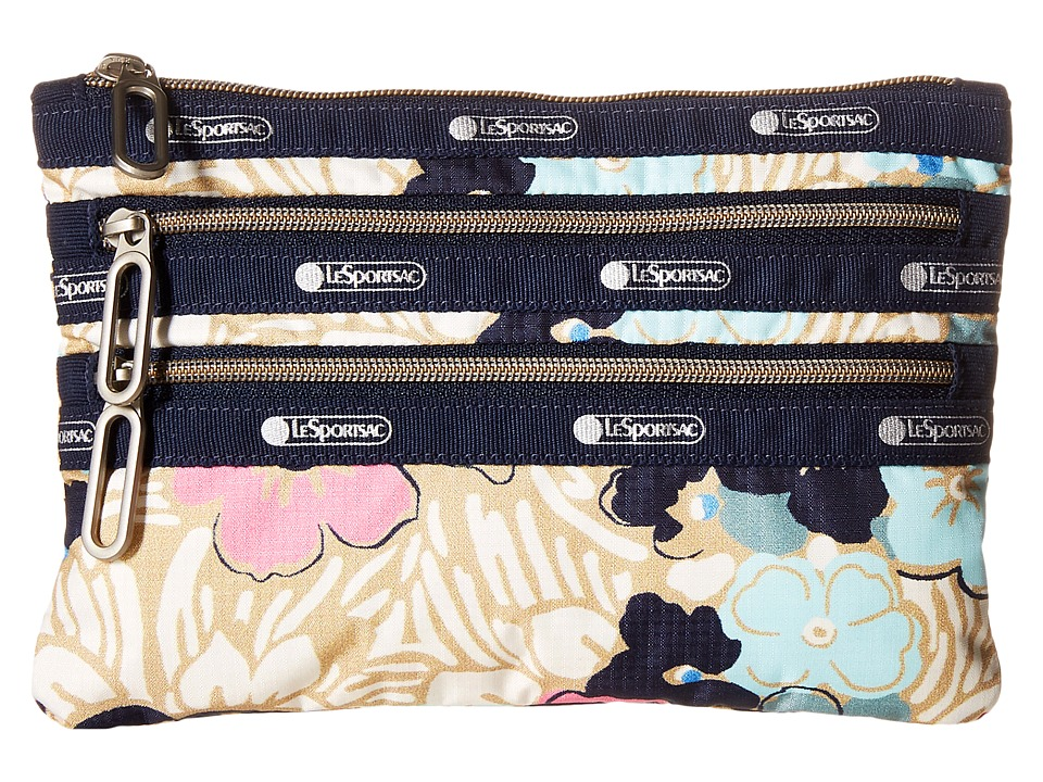 LeSportsac - Classic 3-Zip Pouch (Ocean Blooms) Wallet