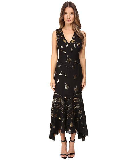Prabal Gurung Sleeveless V-Neck Chiffon Flounce Dress - Black Gold