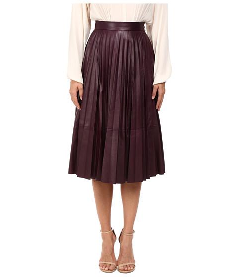 Prabal Gurung Pleated Leather Skirt - Blackberry