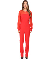 Prabal Gurung - Long Sleeve Crew Neck Jumpsuit w/ Chiffon Combo