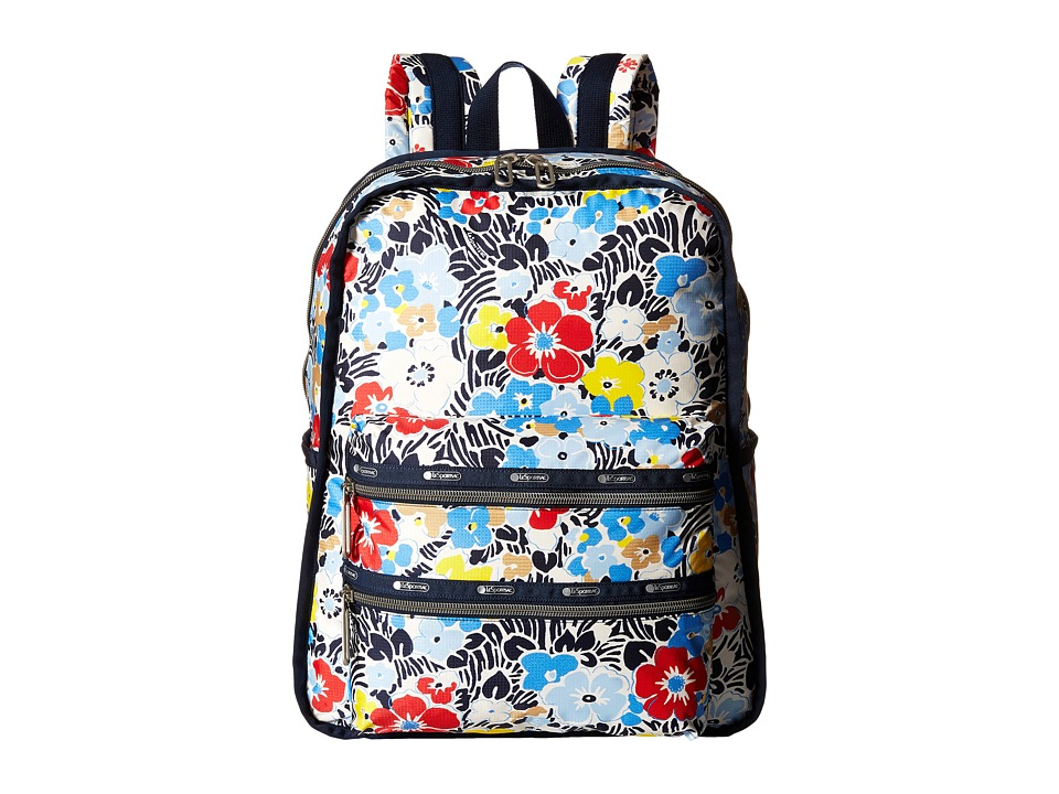 LeSportsac Functional Backpack Ocean Blooms Navy Backpack Bags