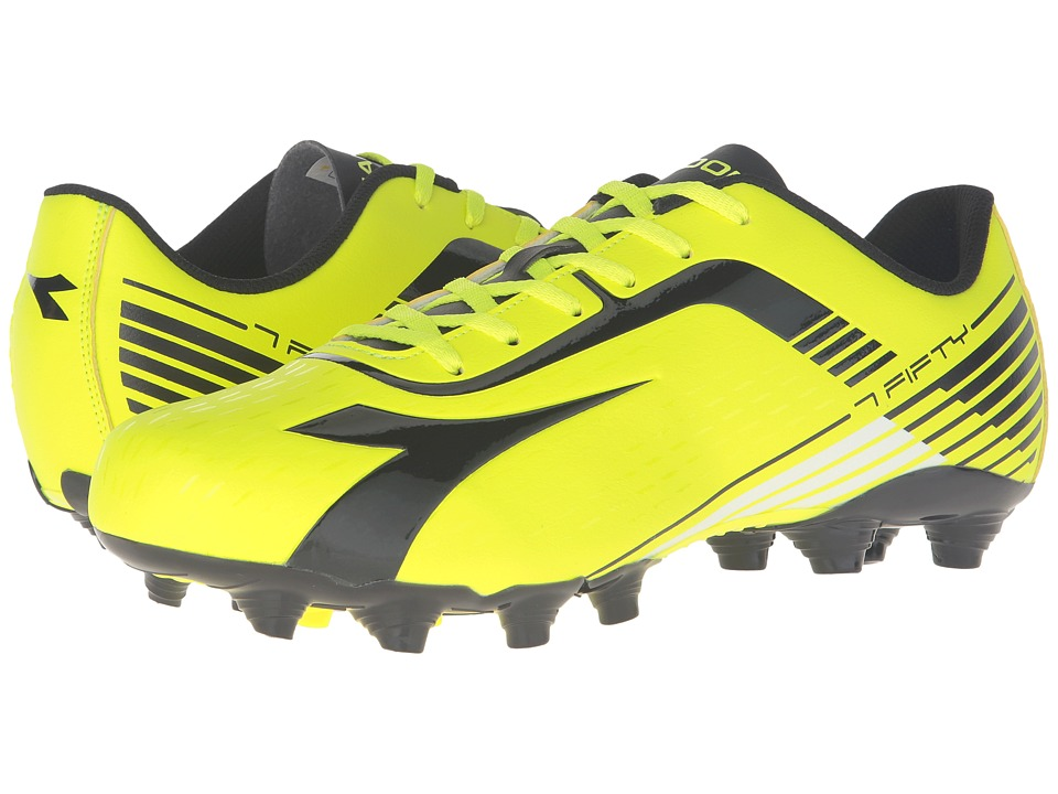 Diadora 7Fifty MG 14 (Yellow Fluo DD/Black) Men's Soccer ...