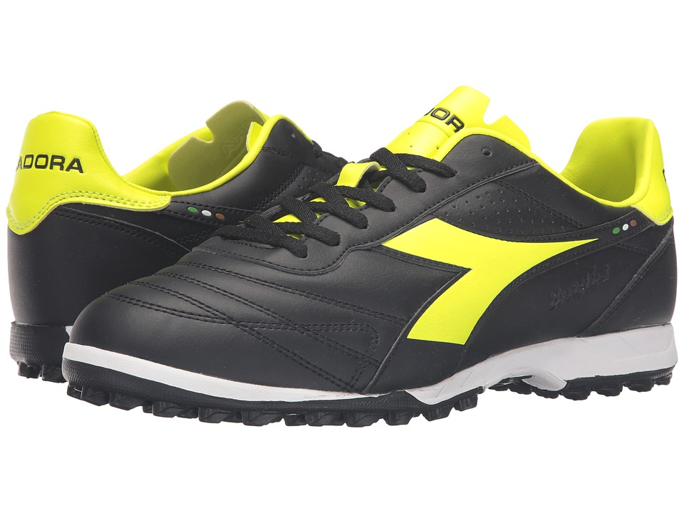 Diadora - Brasil R TF (Black/Yellow Fluo) Mens Soccer Shoes