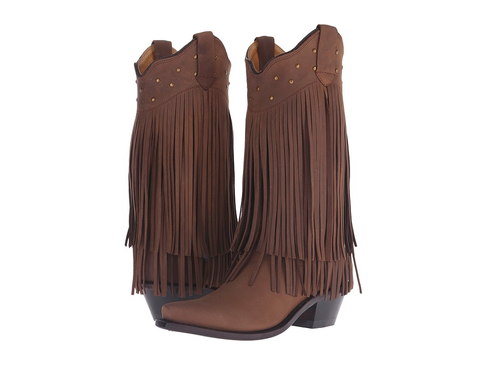 Old West Boots - Fringe Boot (Distressed Brown Nubuck) Co...