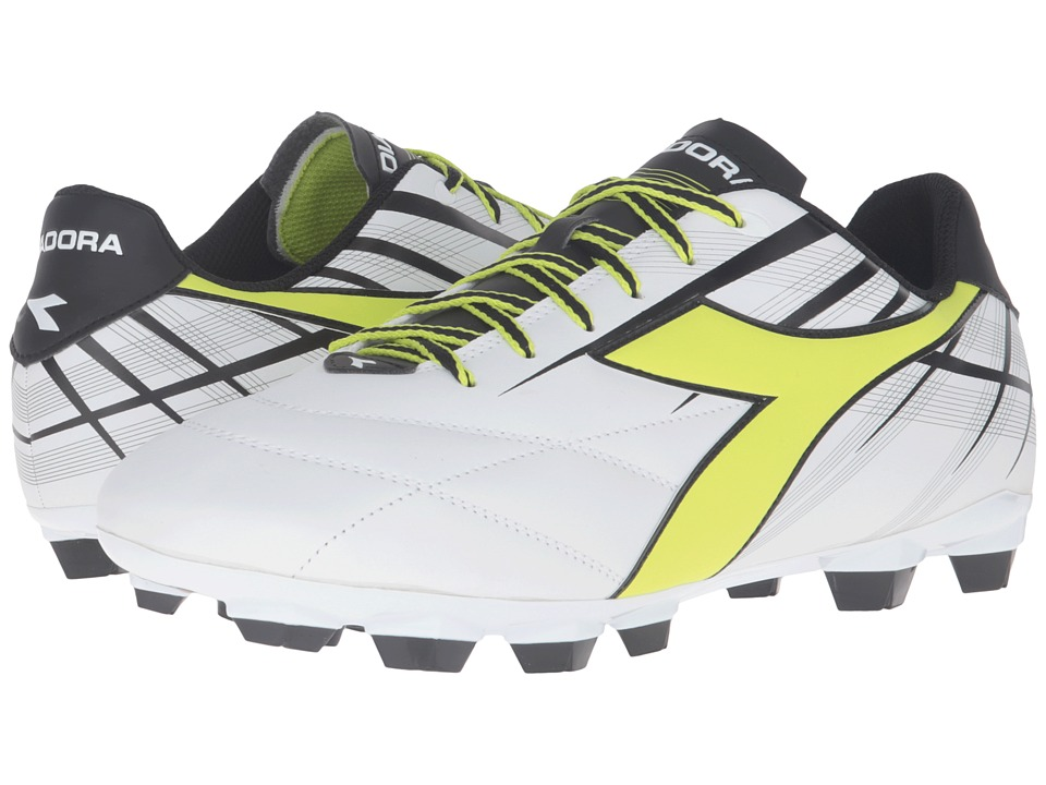 Diadora - Forte MD LPU (White/Fluo Yellow/Black) Mens Soccer Shoes