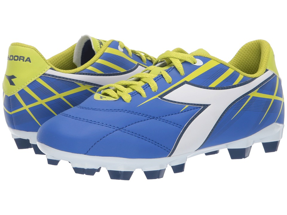 Diadora - Forte W MD LPU (Electric Blue/White/Lime) Womens Soccer Shoes