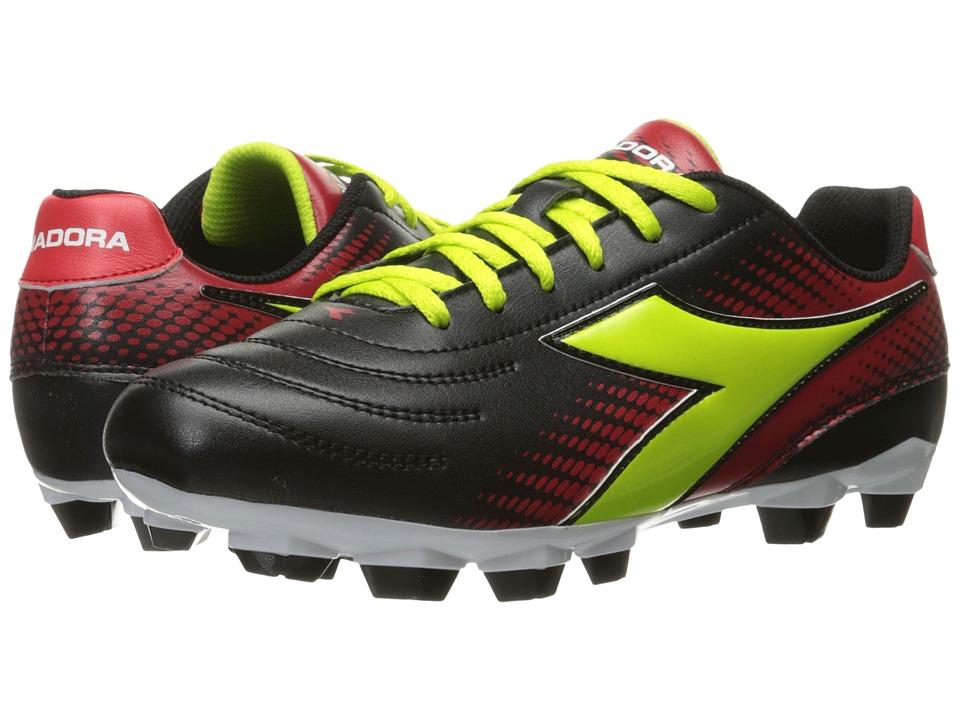 Diadora Mago R W LPU (Black/Lime/Red) Women's Soccer Shoes