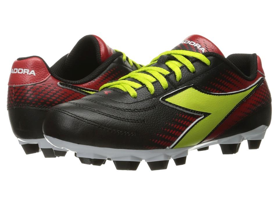 Diadora Mago L W LPU (Black/Lime/Red) Women's Soccer Shoes