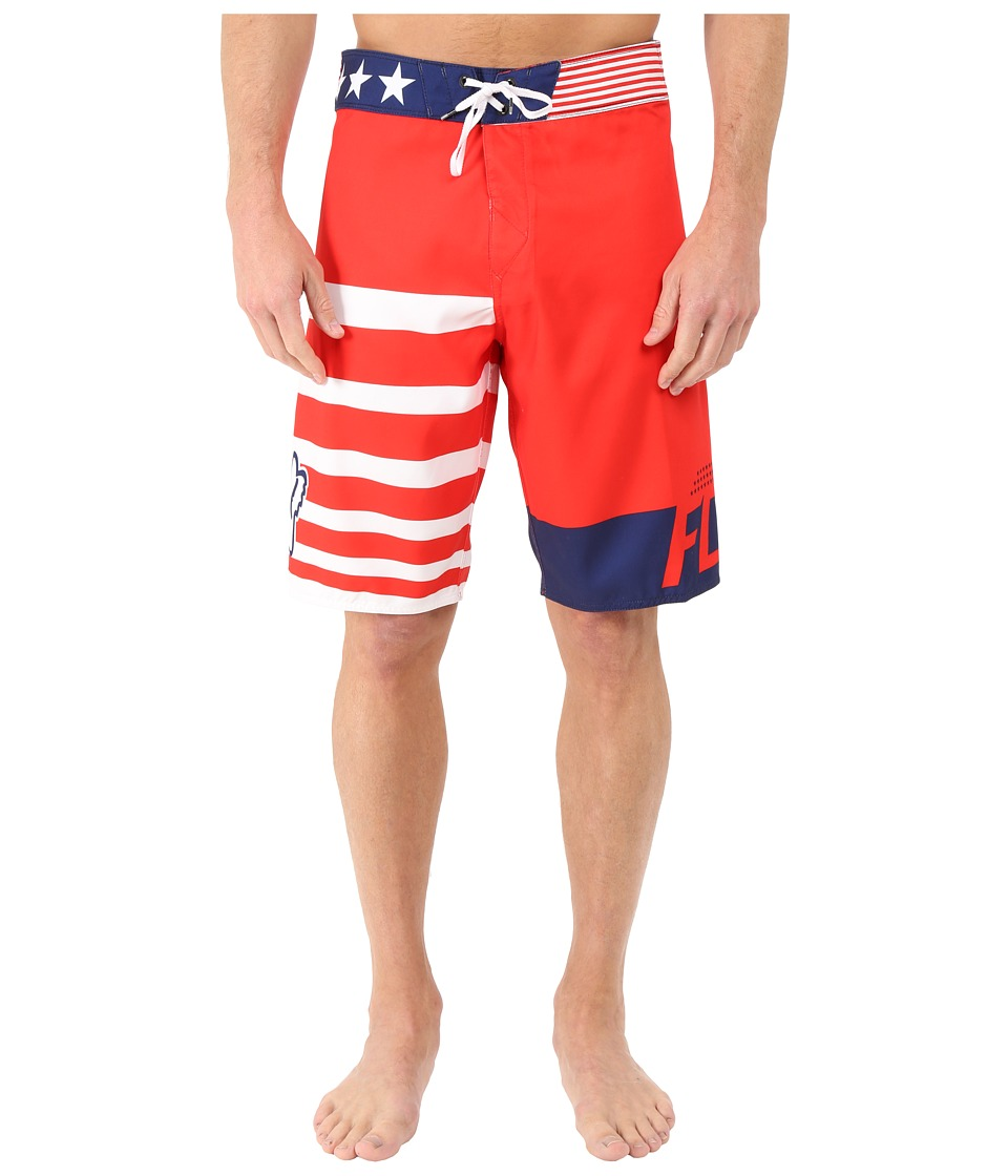 Fox Red White and True Boardshorts Red Mens Swimwear