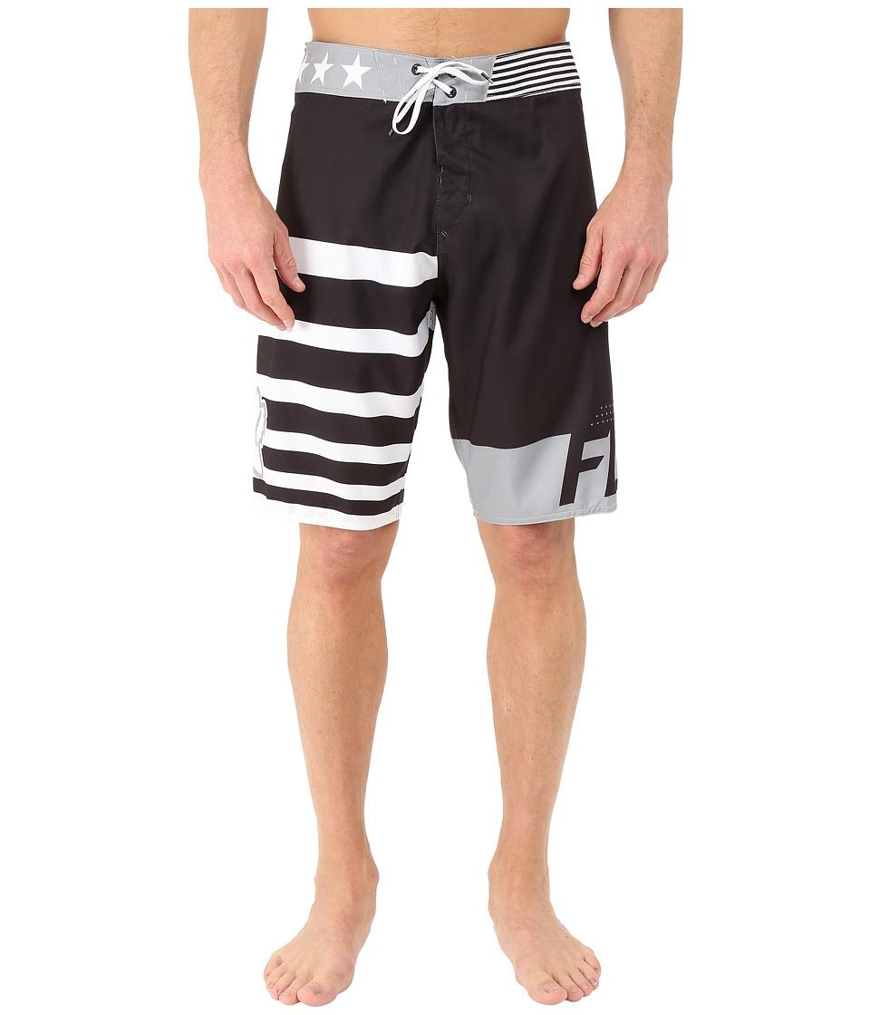 Fox Red White and True Boardshorts Black Mens Swimwear