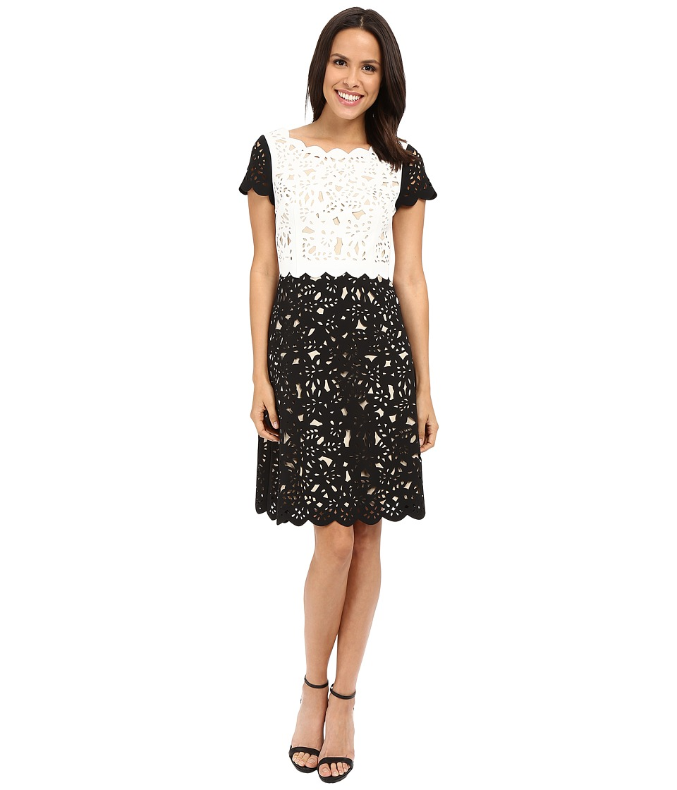 NUE by Shani Fit Flare Laser Cutting Dress w/ Popover Ivory/Black Womens Dress