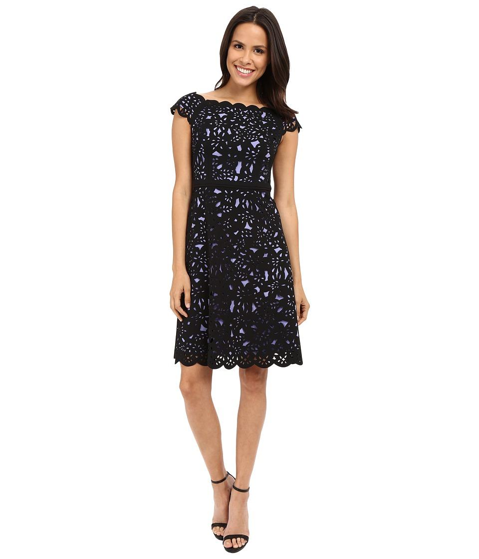 NUE by Shani Fit Flare Laser Cutting Dress w/ Side Neckline Iris/Black Womens Dress