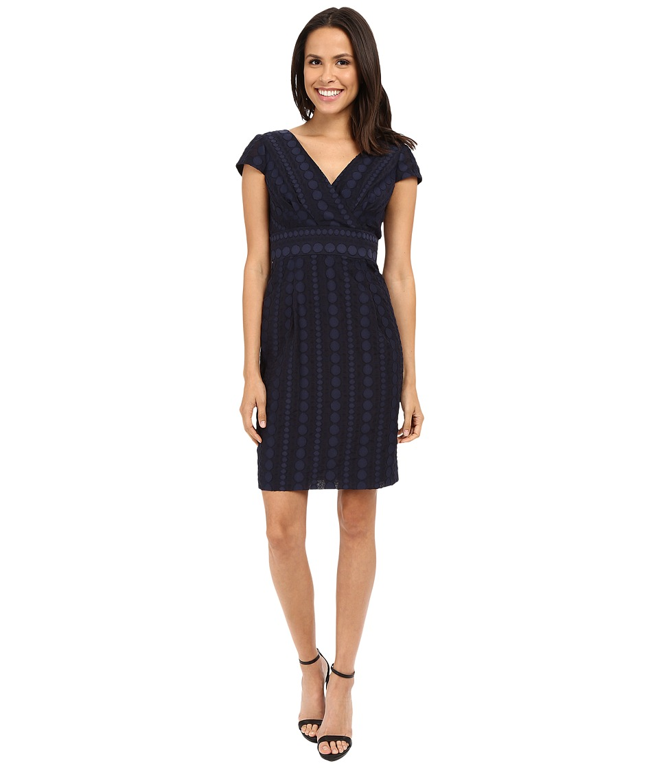 NUE by Shani Crossover V Neck Novelty Woven Fabric Dress Navy Womens Dress