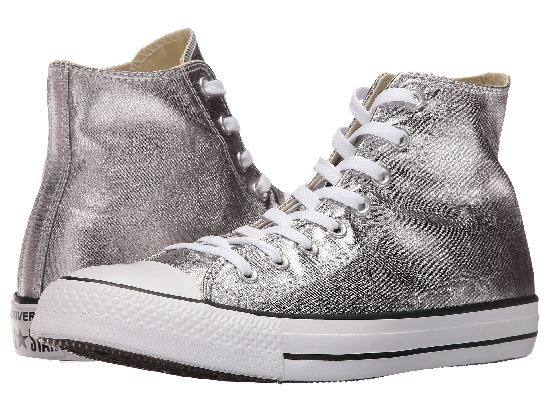 converse chuck taylor all star metallic canvas hi gunmetal white black free. Black Bedroom Furniture Sets. Home Design Ideas