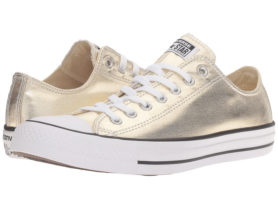 Converse - Chuck Taylor(r) All Star(r) Metallic Canvas Ox (Light Gold/White/Black) Athletic Shoes