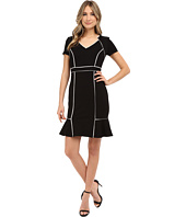 NUE by Shani - Ponte Knit Dress w/ Satin Contrast Piping Detail