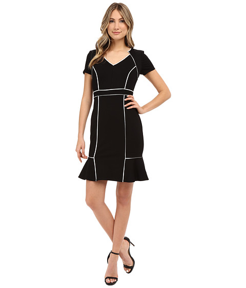 NUE by Shani Ponte Knit Dress w/ Satin Contrast Piping Detail