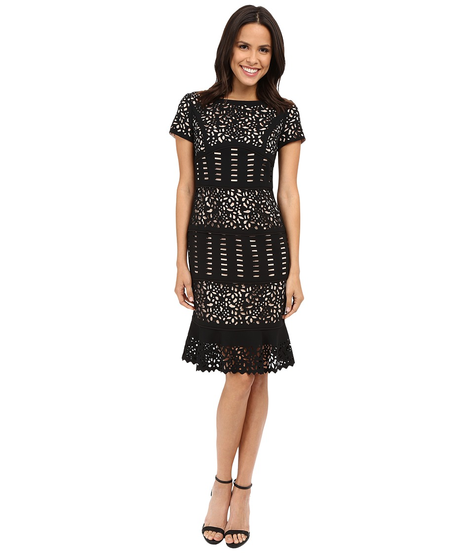 NUE by Shani Laser Cutting Dress w/ Flounce Detail Black/Nude Womens Dress