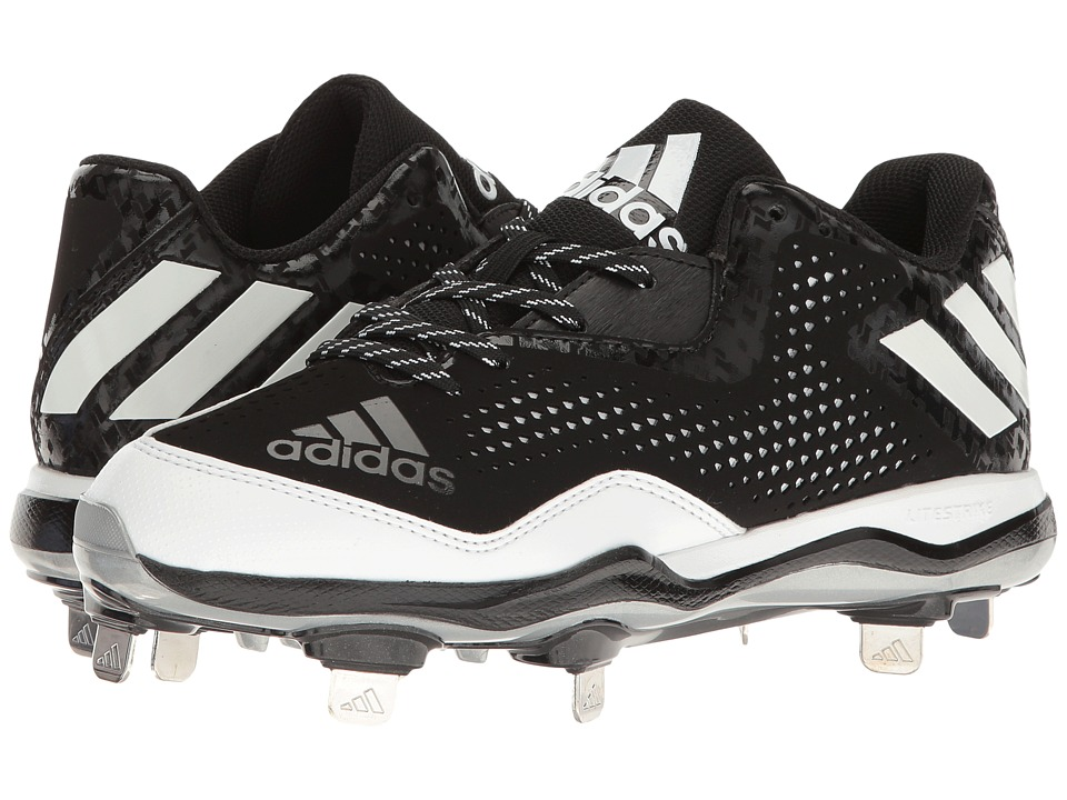 adidas - PowerAlley 4 (Black/White/Silver Metallic) Womens Cleated Shoes