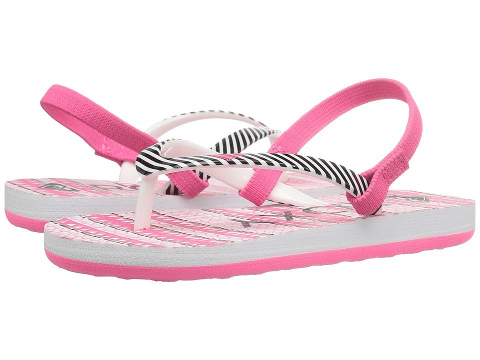 Roxy Kids Pebbles V (Toddler) (Pink/Boysenberry Stripe) Girl