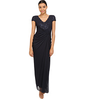 Adrianna Papell - Short Sleeve V-Neck Shirred Gown