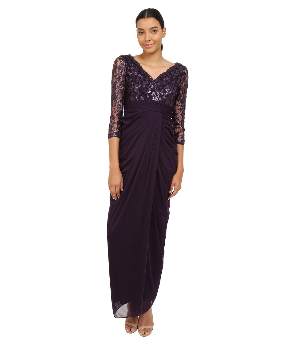 Adrianna Papell 3/4 Sleeve V Neck Combo Gown Aubergine Womens Dress