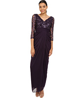 Adrianna Papell - 3/4 Sleeve V-Neck Combo Gown