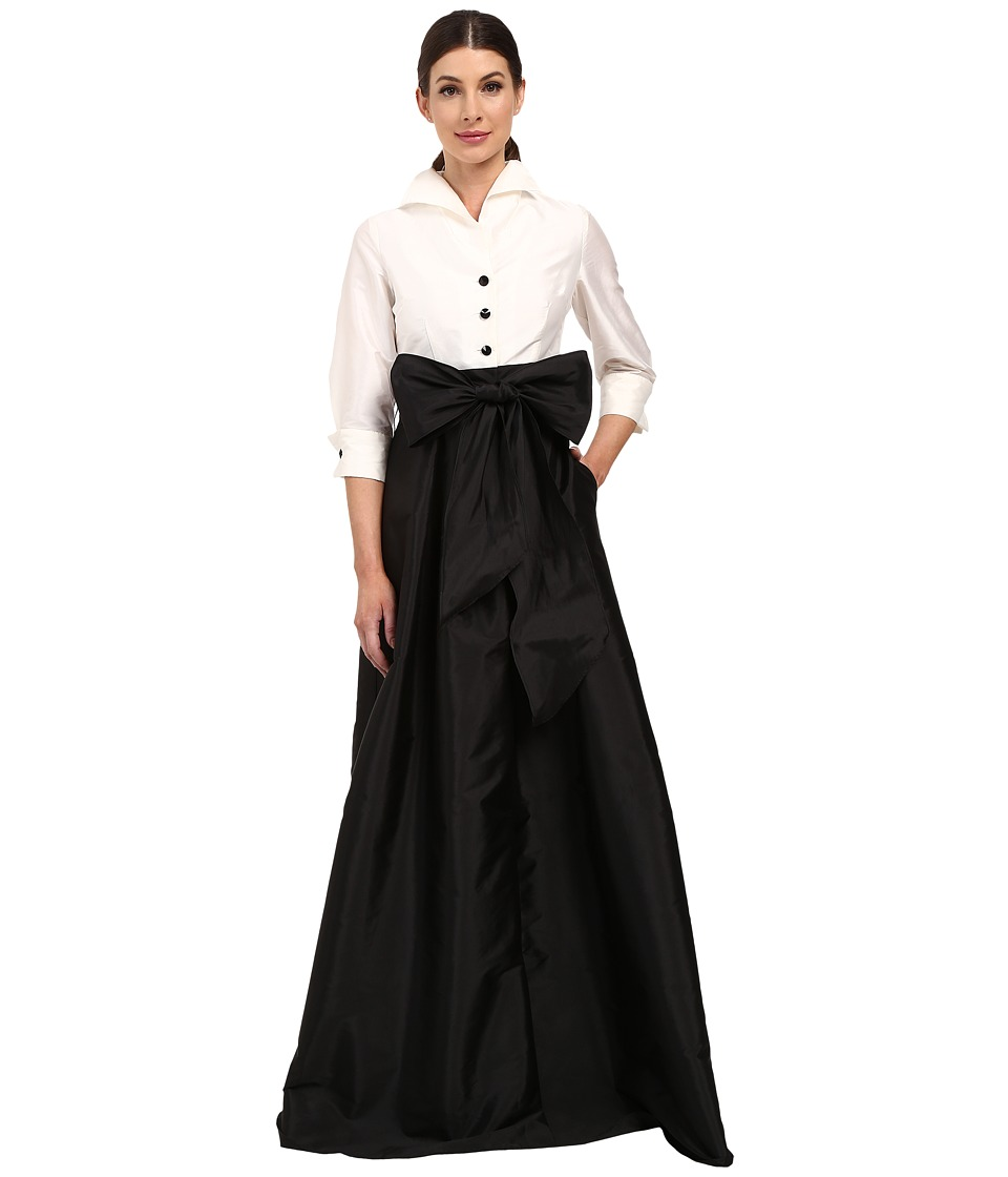 Adrianna Papell Blouse High Low Taffeta Gown Ivory/Black Womens Dress