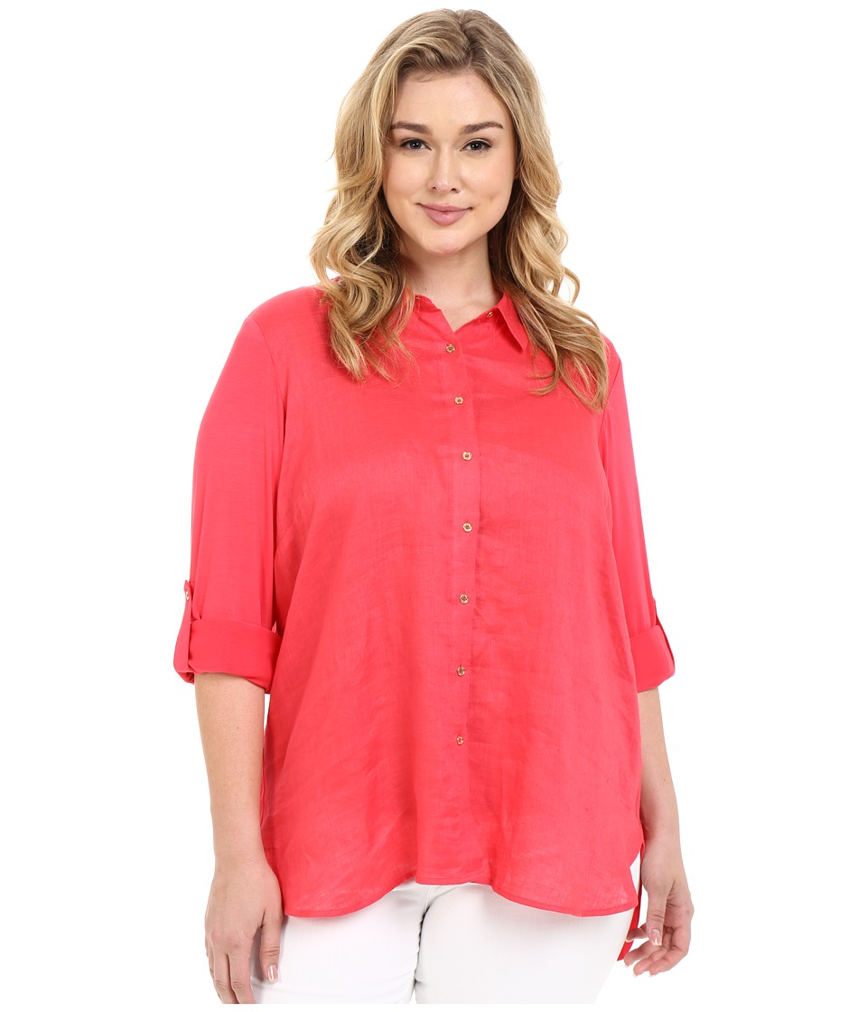 Calvin Klein Plus Plus Size Linen/Knit Combo Tunic Watermelon Womens Blouse