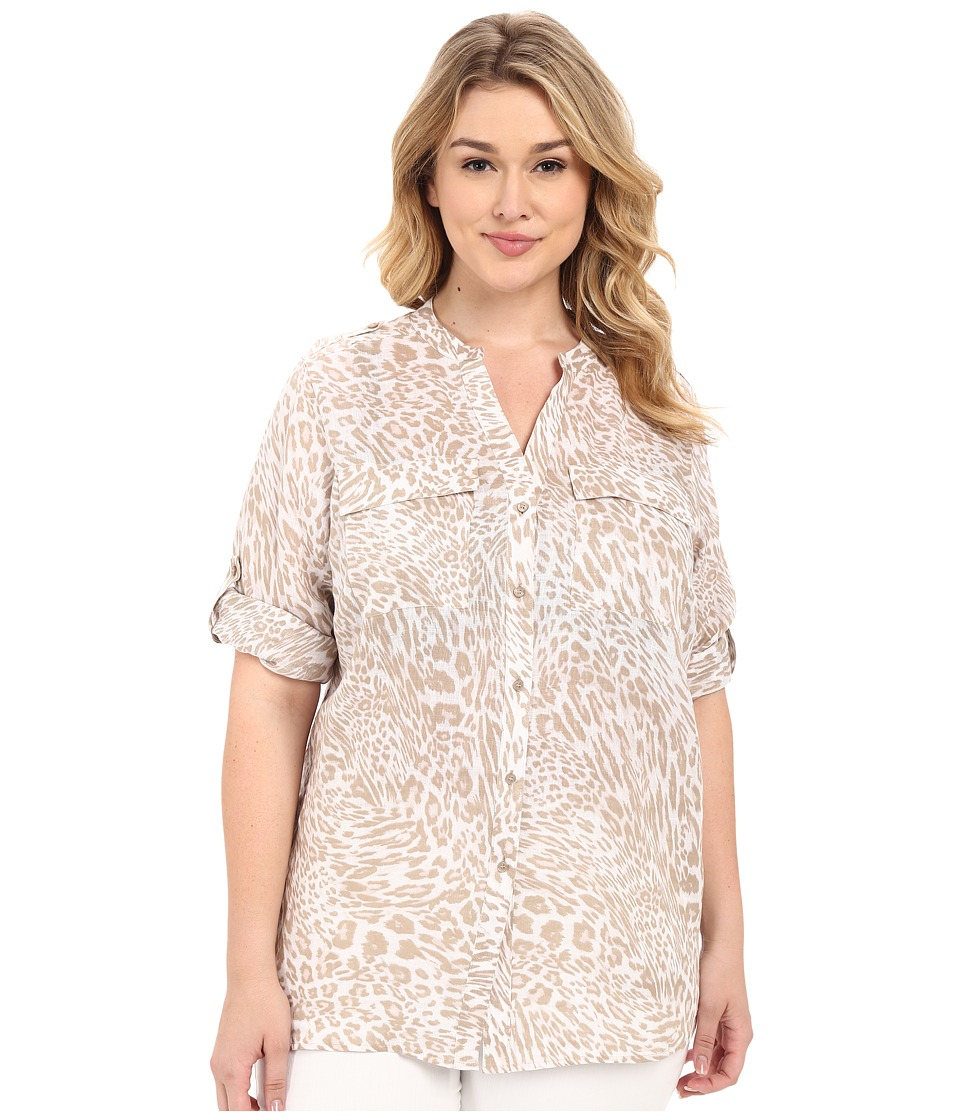 Calvin Klein Plus Plus Size Printed Linen Roll Sleeve Neutral/Latte Womens Blouse
