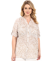 Calvin Klein Plus - Plus Size Printed Linen Roll Sleeve