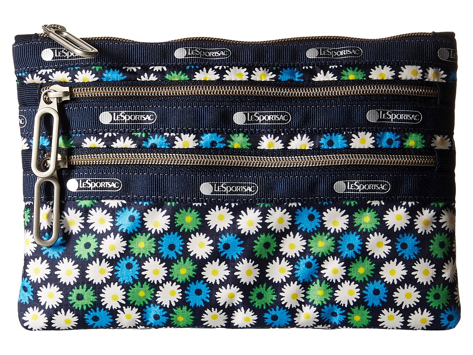 LeSportsac - Classic 3-Zip Pouch (Travel Daisy) Wallet
