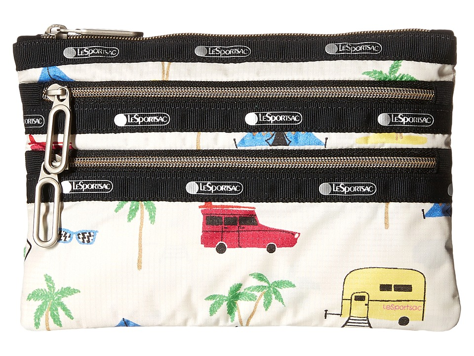 LeSportsac - Classic 3-Zip Pouch (Roadtrip Vaca Cream) Wallet