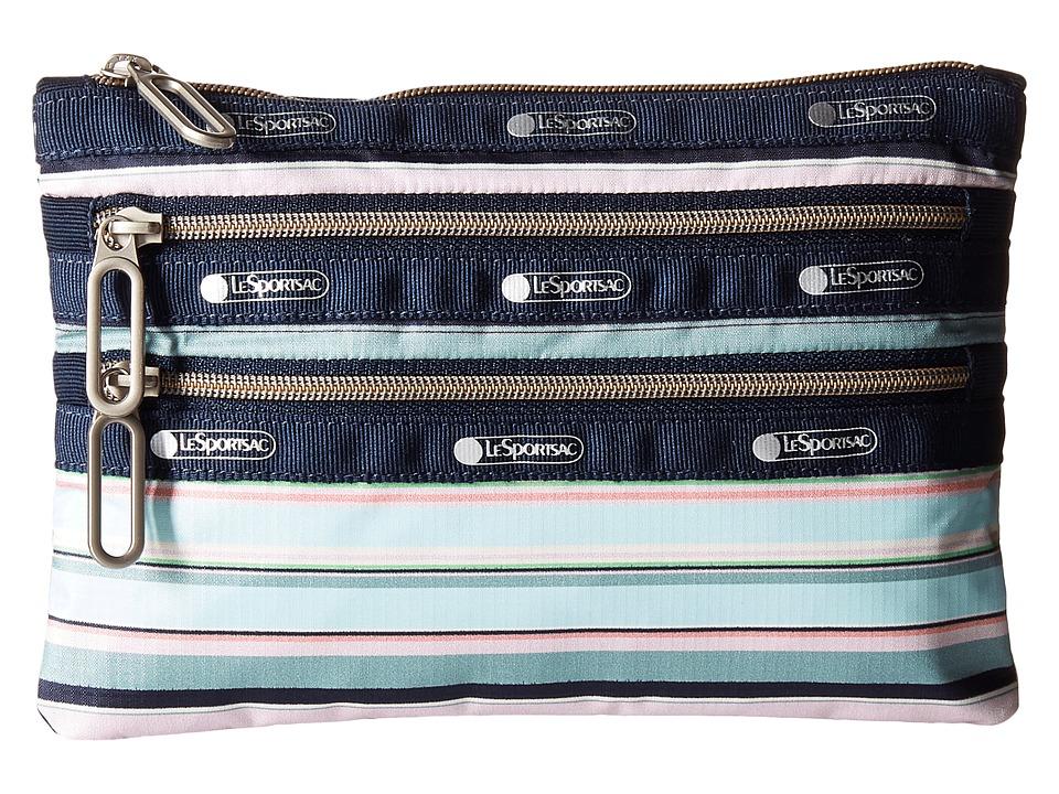 LeSportsac - Classic 3-Zip Pouch (Beach Stripe) Wallet