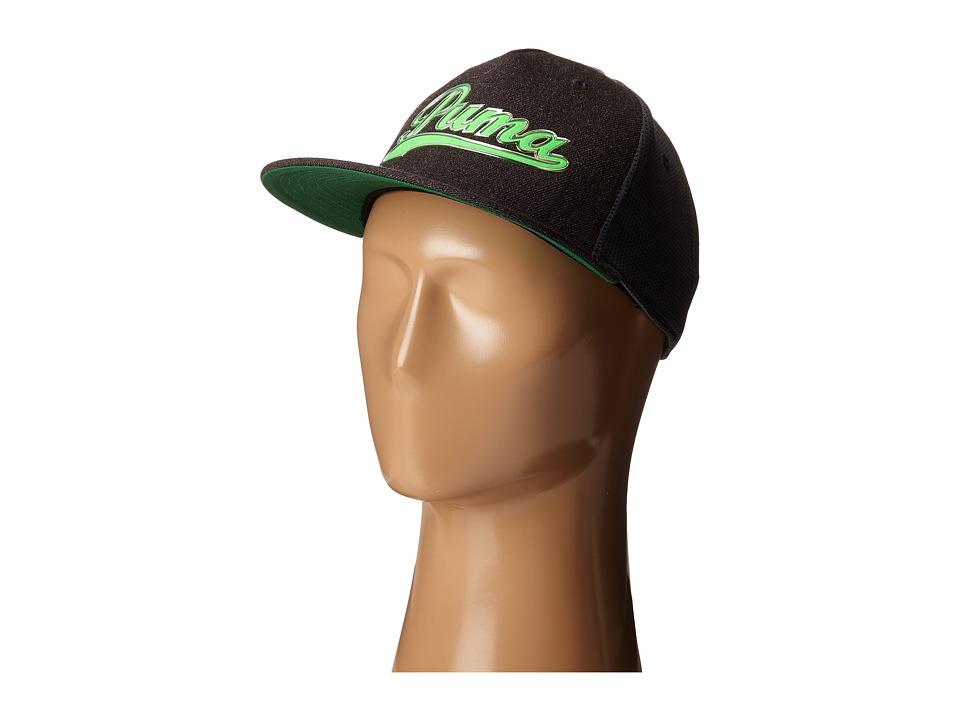 PUMA Golf Kids Script Snapback Cap Big Kids Dark Grey Heather/Green Gecko Caps