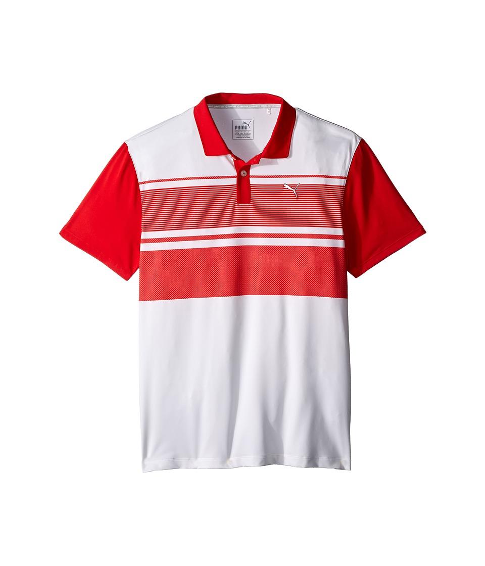 PUMA Golf Kids Pattern Block Polo JR Big Kids High Risk Red Boys Clothing