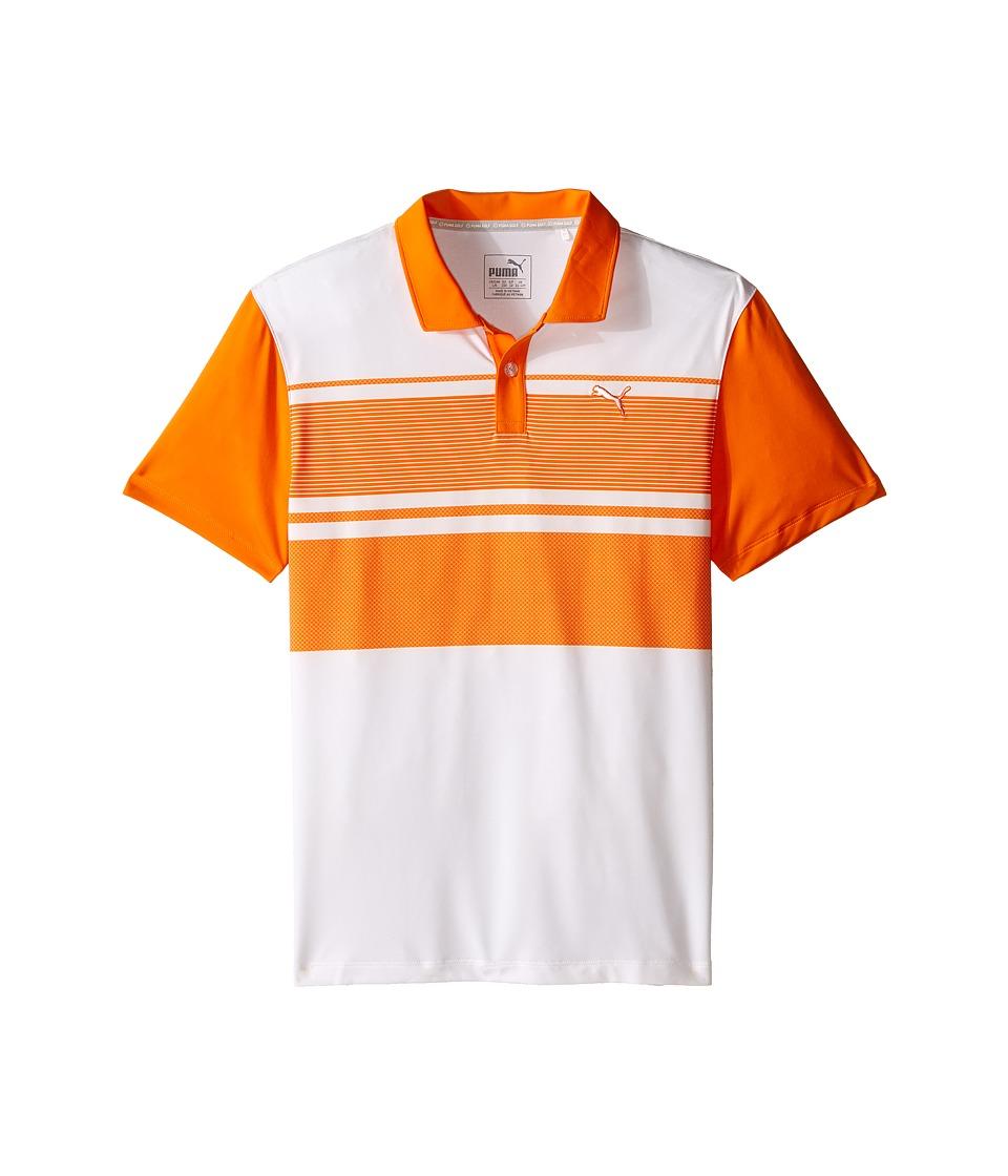 PUMA Golf Kids Pattern Block Polo JR Big Kids Vibrant Orange Boys Clothing