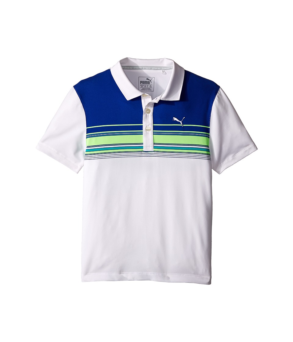 PUMA Golf Kids Key Stripe Polo JR Big Kids Bright White Boys Clothing