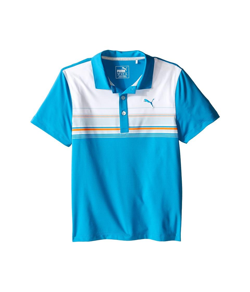 PUMA Golf Kids Key Stripe Polo JR Big Kids Atomic Blue Boys Clothing